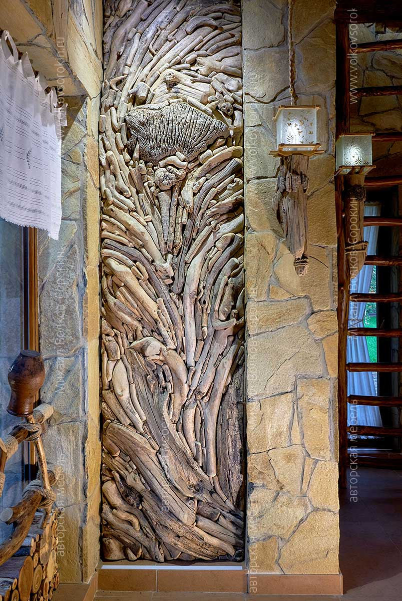 Wood Art Panel for Russian Bathhouse or Garden House