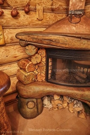 Fireplace from different sorts of firewood