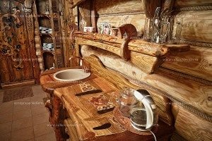 Wooden table in sauna