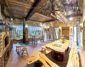 Russian House Interior in Rustic Style