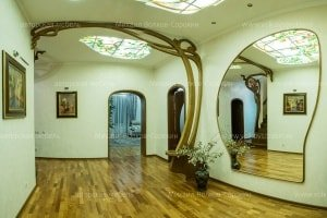 Decorative composition for the hall. Large elegant mirror