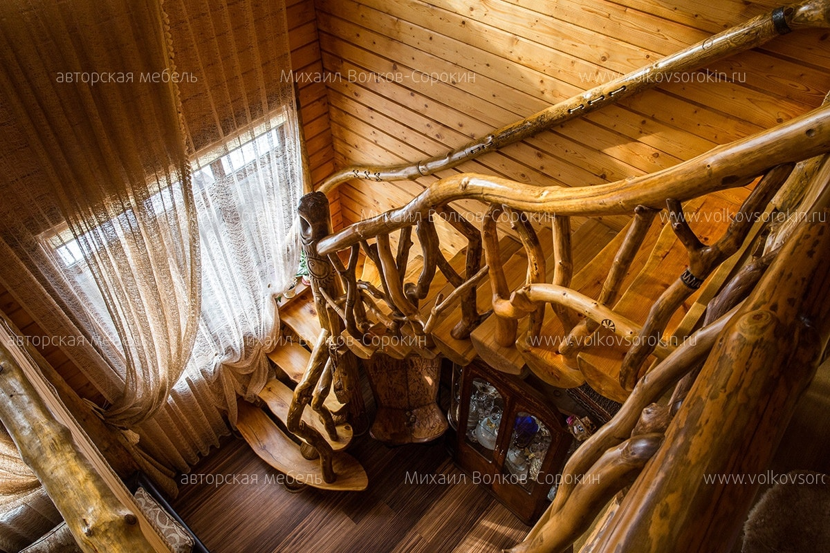 Stairs from different types of wood